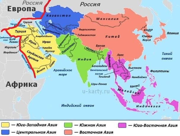 страны азии карта